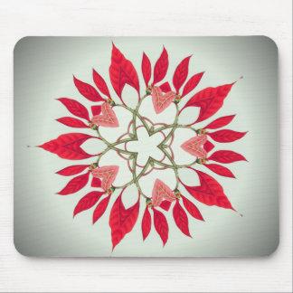 diseño de la estrella del navidad del poinsettia tapete de raton