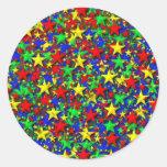 Diseño de la estrella pegatina redonda