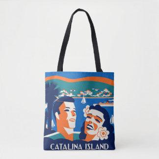 diseño de la etiqueta del equipaje de la isla de bolsa de tela