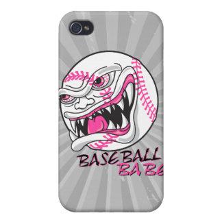 diseño de la fan del jugador de béisbol del chica  iPhone 4 funda