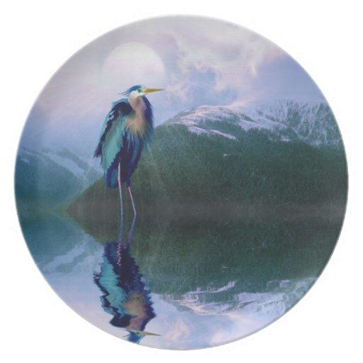 Diseño de la fauna de Birdlover de la garza de gra Platos De Comidas