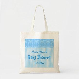 Diseño de la fiesta de bienvenida al bebé en azul bolsa lienzo