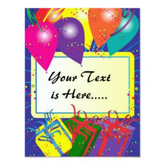 """Diseño de la fiesta de cumpleaños invitación 4.25"""" x 5.5"""""""