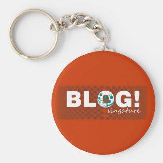 Diseño de la firma del blog llavero redondo tipo pin