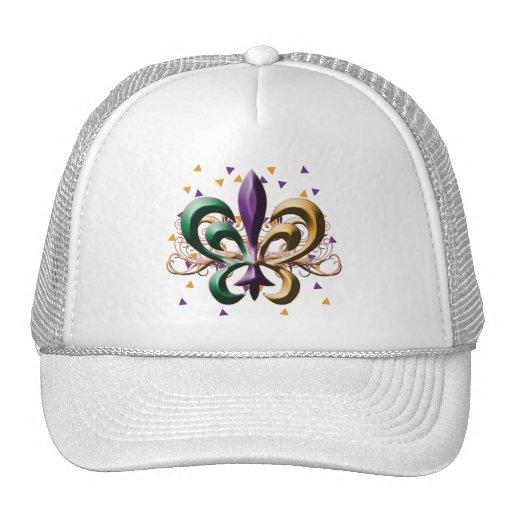 Diseño de la flor de lis del carnaval gorros bordados