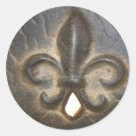 Diseño de la flor de lis pegatinas redondas