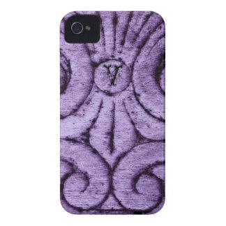 Diseño de la flor de lis (púrpura) Case-Mate iPhone 4 carcasa