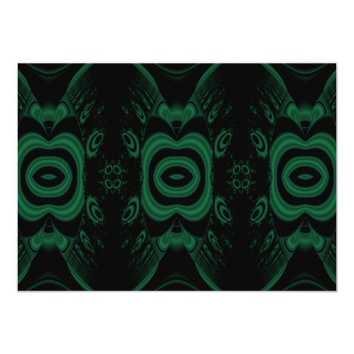 """Diseño de la flor del verde negro y esmeralda invitación 5"""" x 7"""""""