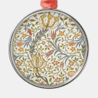 Diseño de la flora de William Morris Adorno Redondo Plateado