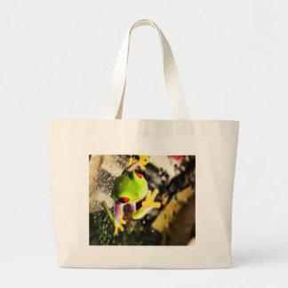 Diseño de la foto de la rana arbórea bolsas de mano