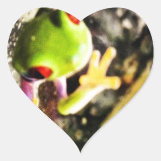 Diseño de la foto de la rana arbórea pegatina de corazon personalizadas