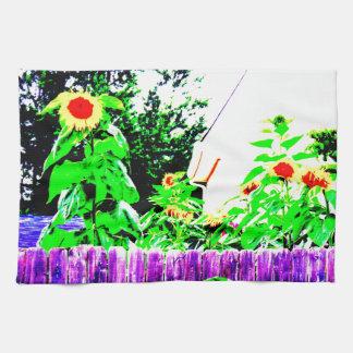 Diseño de la foto del jardín del girasol del toalla de mano