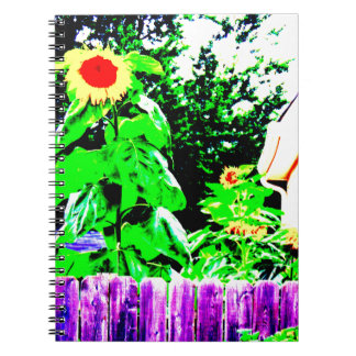 Diseño de la foto del jardín del girasol del libros de apuntes con espiral