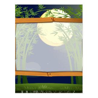 Diseño de la frontera con el bosque de bambú en la postal