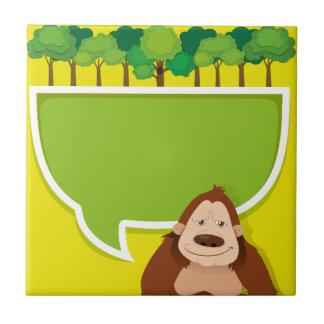 Diseño de la frontera con gorila y los árboles azulejo cuadrado pequeño