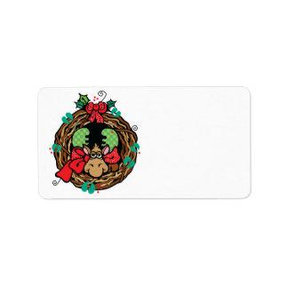 diseño de la guirnalda de los alces del navidad etiquetas de dirección