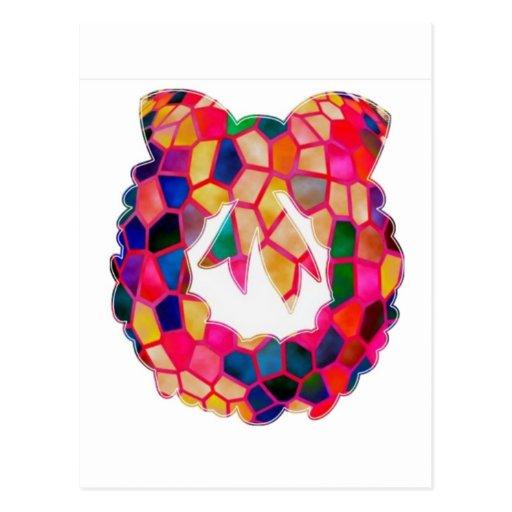 Diseño de la guirnalda del modelo del vitral postales