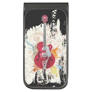 Diseño de la guitarra eléctrica clip para billetes metalizado