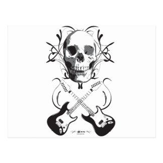 Diseño de la guitarra y del cráneo postal