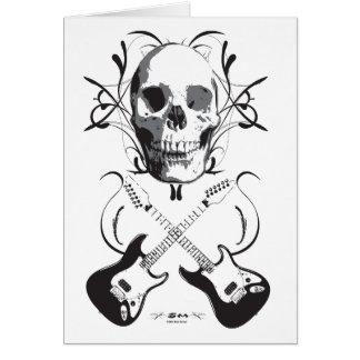 Diseño de la guitarra y del cráneo tarjeta de felicitación