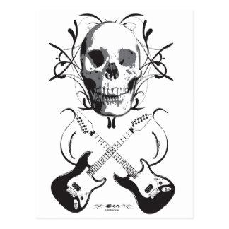 Diseño de la guitarra y del cráneo postales