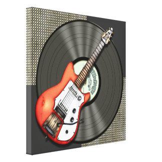 Diseño de la guitarra y del disco de vinilo del vi lienzo envuelto para galerías