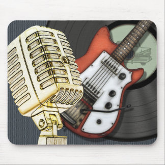 Diseño de la guitarra y del micrófono del vintage tapete de ratón