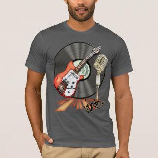 Diseño de la guitarra y del micrófono del vintage playera