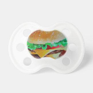 diseño de la hamburguesa, pintura original chupete de bebé