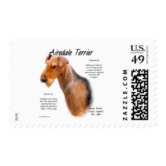 Diseño de la historia de Airedale Terrier Sello