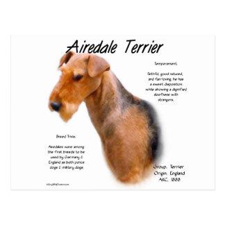 Diseño de la historia de Airedale Terrier Tarjeta Postal