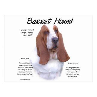 Diseño de la historia de Basset Hound Tarjeta Postal