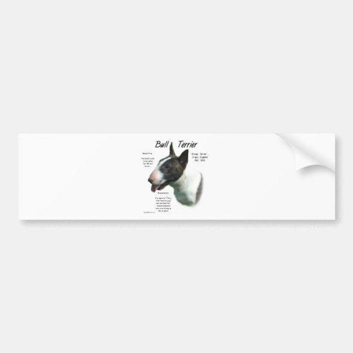 Diseño de la historia de bull terrier (coloreado) etiqueta de parachoque