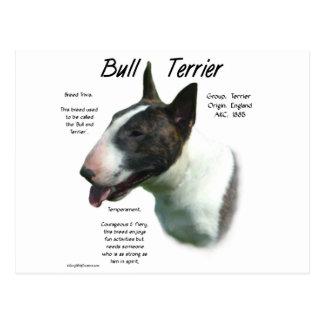 Diseño de la historia de bull terrier (coloreado) postal
