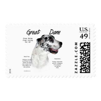 Diseño de la historia de great dane (harlequin) sellos