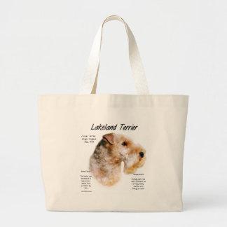 Diseño de la historia de Lakeland Terrier Bolsa De Tela Grande