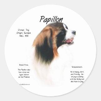 Diseño de la historia de Papillon (Phalene) Pegatina Redonda