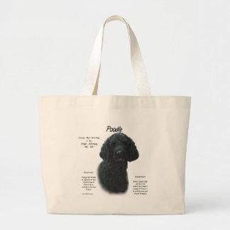 Diseño de la historia del caniche negro bolsa lienzo