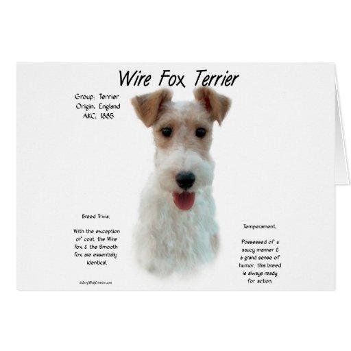 Diseño de la historia del fox terrier del alambre tarjeta de felicitación