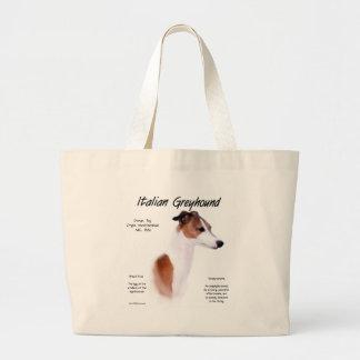 Diseño de la historia del galgo italiano bolsa tela grande