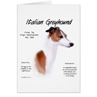 Diseño de la historia del galgo italiano tarjeta de felicitación