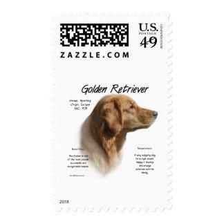 Diseño de la historia del golden retriever sellos