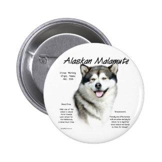 Diseño de la historia del Malamute de Alaska Pin Redondo De 2 Pulgadas