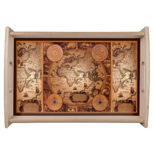 Diseño de la historia del mapa de Viejo Mundo del  Bandejas