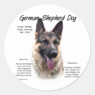Diseño de la historia del perro de pastor alemán pegatina redonda