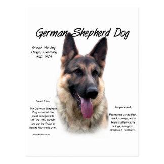 Diseño de la historia del perro de pastor alemán postales