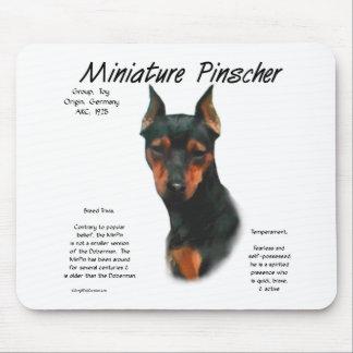 Diseño de la historia del Pinscher miniatura (negr Alfombrillas De Ratones
