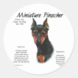 Diseño de la historia del Pinscher miniatura Pegatina Redonda