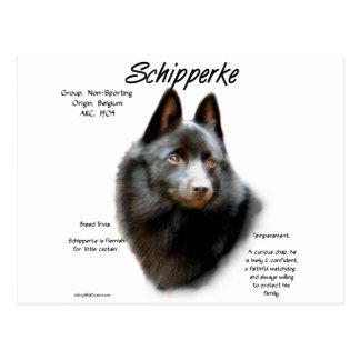 Diseño de la historia del Schipperke Tarjetas Postales