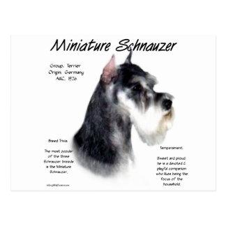 Diseño de la historia del Schnauzer miniatura Tarjetas Postales